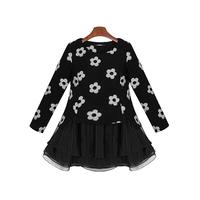 2014 New Embroidered Organza Dress,Women Black Flower Cotton Long Sleeve Dress