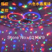 Free shiping mp3 remote control crystal belt magic ball light laser light ktv laser light