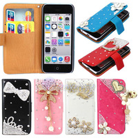 Pretty For Apple 5C Bling Flower Diamond Stand Flip PU Leather Pouch Wallet Holder Case Cover For iPhone 5C Heart Cell Phones