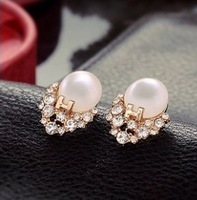 2014 New HOT !!!Korean Imitate Diamond Pearl H Letter Exquisite Opal Earrings Wholesale XY-E121