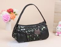 2014 Free shipping new fashion high quality black Denim cartoon Single shoulder strap ladies small&Mini Practical handbags