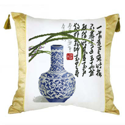 Crown stores genuine new home Belle stitch cushion pillow cover porcelain incense poem Merlin , bamboo and chrysanthemum blue Ya(China (Mainland))