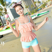 Split swimsuit hot springs fashion ruffle split swimwear female twinset