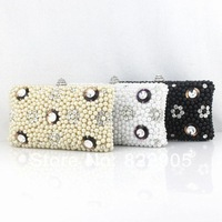 Hard box pattern Shell pearl female fashion clutch evening bag handmade beaded rhinestone banquet bag European American trend