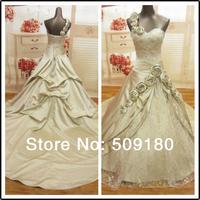 elegent high quality embroidery customized floor length wedding gown design PX099 one shoulder chiffon beach wedding dresses