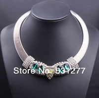 European and American fashion star just circle glass crystal necklace rhinestone necklace feather necklace jewelry wholesale