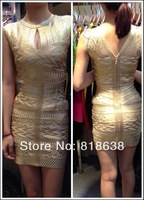 gold foil print round neck keyhole celebrity dress bandage dresses 2014 new arrival party dress evening dress wholesale