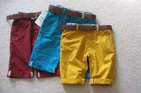 bp4002   free shipping Kids boys cotton summer five cents trousers  with belt 1 lot/ 5pcs