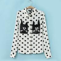 2014 new  women's for female fashionable spring  autumn style cute cat Polka Dot Slim long-sleeved Blouses shirt NJS103 female