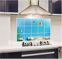 [Saturday Mall] - blue underwater world pattern decoration wall stickers kitchen tile oil waterproof pollution prevention 6598