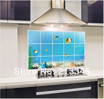 Koop zaterdag mall blauw onderwaterwereld patroon decoratie muurstickers keuken - Tegellijm keuken ...