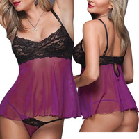 2014New Women Sexy Hot Purple Lace Transparent  Dress+G -String Set Underwear Sleepwear Uniform  Lingerie