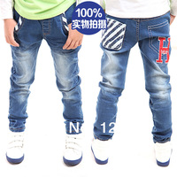Male child 2014 spring new arrival elastic male child jeans trousers embroidered stripe children's pants child trousers