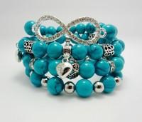 4pcs stacking Bohemia bracelet set fashion Turquoise beads with charm bracelet women jewelry