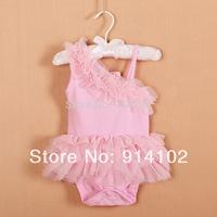 Drop shipping 2014 Summer New Infant Baby's Modal fabric Romper Inclined shoulder Halter Romper Girls princess Tutu Dress