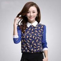 Free shipping! 2014 Spring basic chiffon shirt Korea leopard print Loose blouse