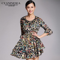 2014 spring women's fashion print irregular flare sleeve 7 ruffle one-piece dress