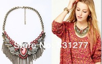 2014 new stained glass crystal necklace Star Eagle alloy tassel necklace jewelry wholesale and retail