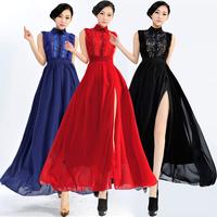 New Arrival 2014 fashion sexy split chiffon lace cute maxi long dresses casual sleeveless celebrity dress evening free shipping