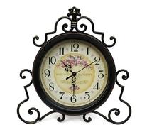 High Quality Battery Powered Home Decoration Unique Fashion Europe Floral Designer Digital Clock Free Shipping Retro Wall Clocks