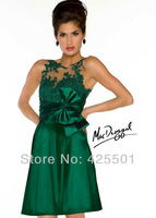 Fashionable Custom Made Dress Sexy See Through Green Lace Formal Evening Gowns Party Short Evening Dresses vestidos de noche