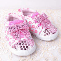Baby Girl Sparkly Shoes Infant Bowknot Bling Sneakers Toddler Flower Princess Footwear First Walkers for Spring Autumn Free Ship
