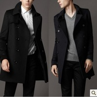 Men's double-breasted cashmere blend wool coat