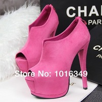 New arrived 2014 Women Hot suede 5 color sexy 14CM Stiletto High heels Pumps platform Nightclubs/party shoes EUR Size 34-38