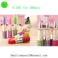 Offer lovely plastic lipstick shape ballpen Min order 500pcs