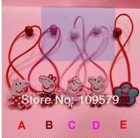 Free shipping! 15pair=30pcs Peppa pig George pig girl kids children hair rope ropes hairpin hairpins, can choose 5design