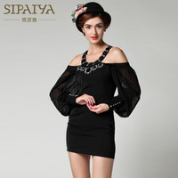 2014 new runway spring and summer fashion sexy diamond patchwork solid color racerback elegant slim one piece dress S,M,L
