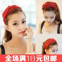 Free shipping Solid color fabric big bow hairband Wide elastic headband Elegant women hair accessories 2014 female hair ornament