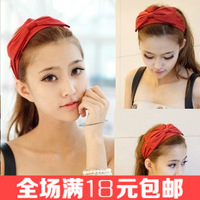 Free shipping Solid color fabric big bow hairband Wide elastic headband Elegant women hair accessories 2014 female hair ornament