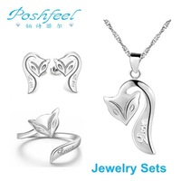 New arrivals PF brand fashion ladies'  925 silver with platinum plated fox Earrings  Necklace  Ring jewelry sets