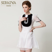 2014 new runway spring and summer fashion sweet organza vintage elegant princess bow patchwork one piece dress S,M,L