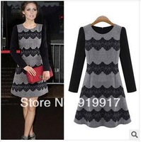 2014 Hot New Women Lace Brand Hollow Mosaic Rendering Brief Long Sleeved Classical Dress S/M/L/XL