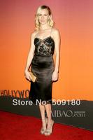 elegant high quality black spaghetti strap floor length custom made long celebrity dress design JO065 celebrity lace dresses