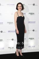elegant high quality black spaghetti strap floor length custom made long celebrity dress design JO063 celebrity inspired dresses