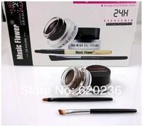 Free Shipping Hot Selling Long Wear Gel Eyeliner Eyeliner Cream Set 1 Black+1 Brown With 2 Brushes 3g 50sets=1lot
