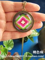 Original design national trend graphic geometric patterns embroidered short design necklace long necklace