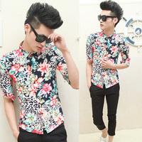 2014 fashion men slim shirt flowers casual three quarter sleeve shirt cs20   free shipping