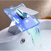 Basin led faucet hot and cold faucet isothermia 3 luminous waterfall luminous basin faucet