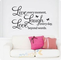 Free Shipping Live Laugh Love English Motto Wall Art Quote Wallpaper Ebay/Amson Hot Sale Wall Decal
