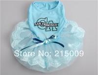 Free Shipping 2014 Spring Summer CA Blue Dog Dress Clothing Dog Skirt Clothes Dog Coats