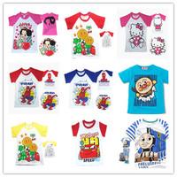 5 PCS/Lot 2015 New Baby boy Girls t shirts clothes short sleeve Tees girls tops cartoon Cotton kids Clothing Thomas Hello kitty