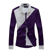 2014 spring shirt male long-sleeve slim polka dot shirt male long-sleeve shirt 11 d369-p30 purple  free shipping