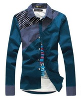 2014 men's clothing spring slim shirt male long-sleeve shirt 1788-d369-p30 blue  free shipping