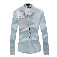 2014 spring shirt male long-sleeve slim polka dot shirt male long-sleeve shirt 11 d369-p30 light blue  free shipping