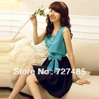 Sleeveless Bow Dress Plus Size Women OL skirt 2014 spring new lace chiffon lace summer M - XL
