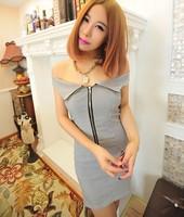 Women's 2013 fashion sexy slim turn-down collar slim waist hip slim one-piece dress